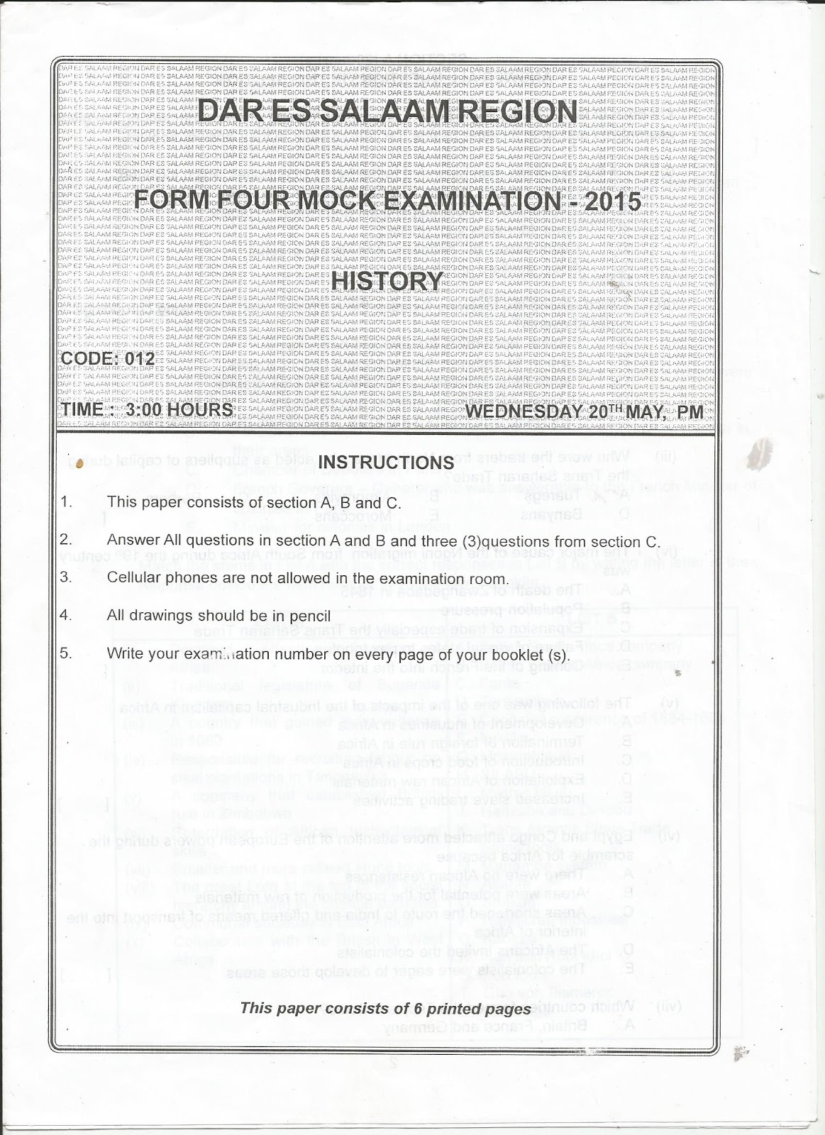 FORM FOUR STUDY NOTES & PAST PAPERS BLOG: HISTORY FORM FOUR