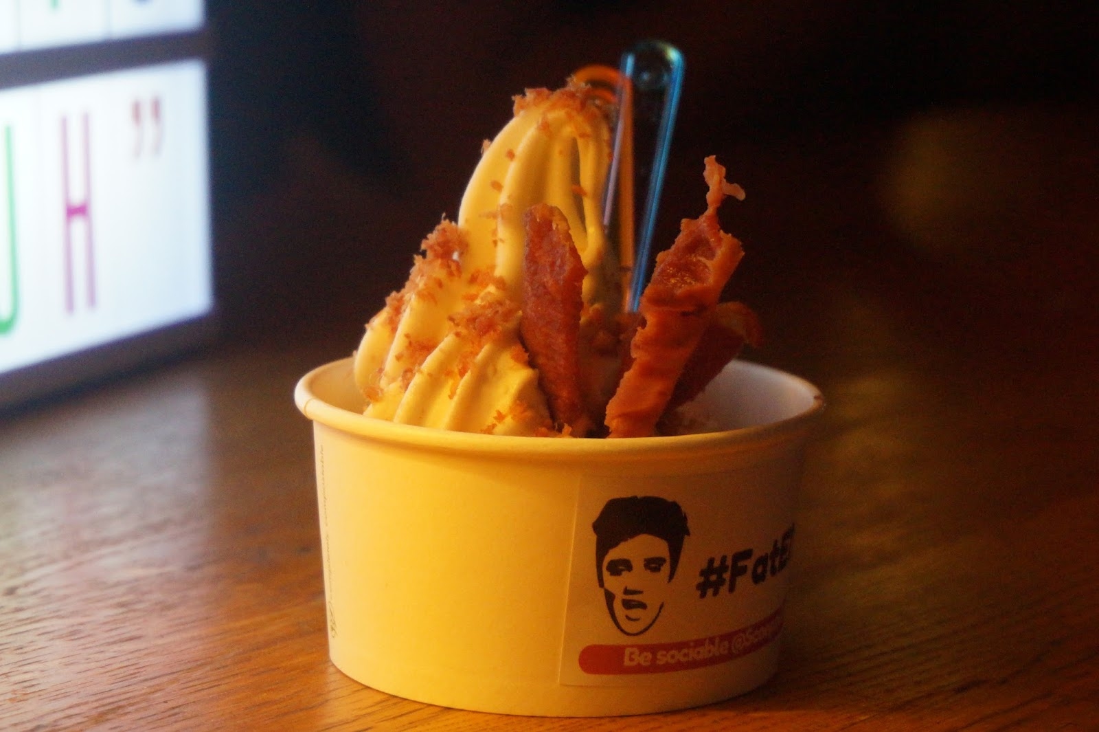 ice cream with candied bacon