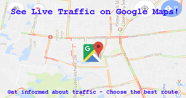 Google Maps shows live traffic status