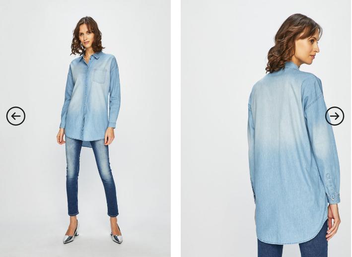 Jacqueline de Yong - Camasa jeans de dama lunga asimetrica