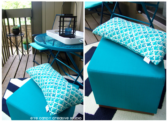 Target outdoor pillows, aqua stool, patio table & chairs, outdoor living space