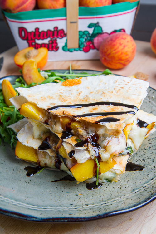 Peach, Chicken and Gorgonzola Balsamic Quesadillas