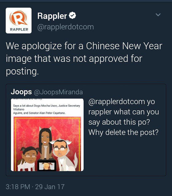 Rappler Apologizes After Depicting Cayetano, Aguirre and Mocha as Dogs. READ HERE!