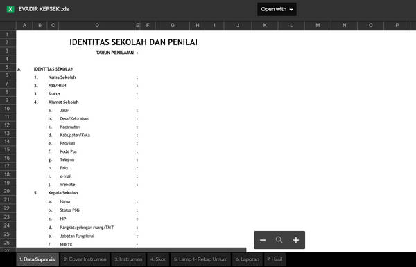 Format Evadir Kepala Sekolah Format Excel