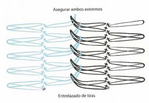 esquema de tiras tejidas con horquillas