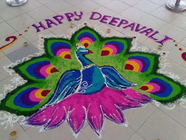 peacock rangoli designs for deepavali