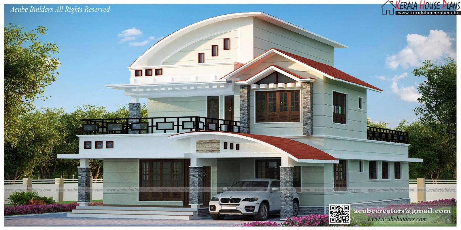 Modern beautiful kerala home design kerala house plans for Kerala home designs contemporary