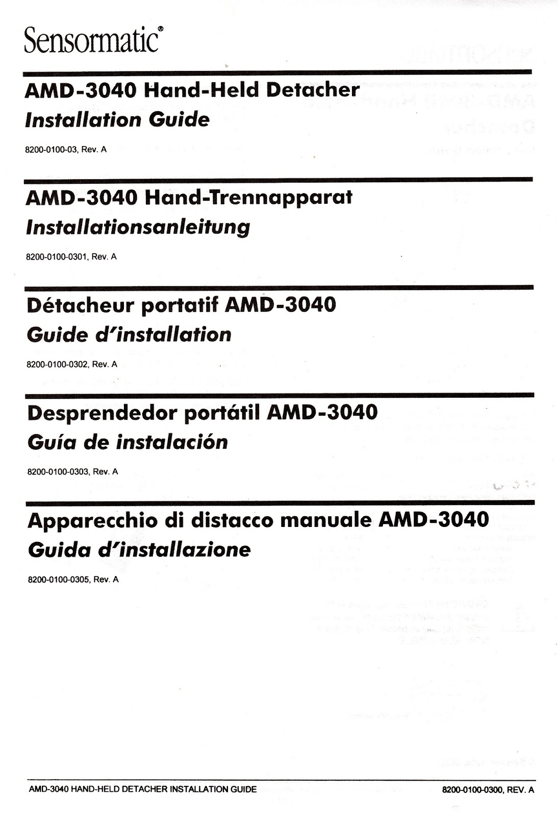 Manual Book : Sensormatic AMD-3040 Hand Detacher