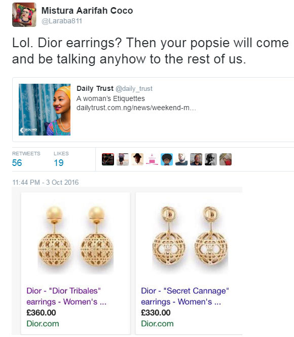 Twitter user calls out Zahra Buhari for wearing 210,000 naira earrings