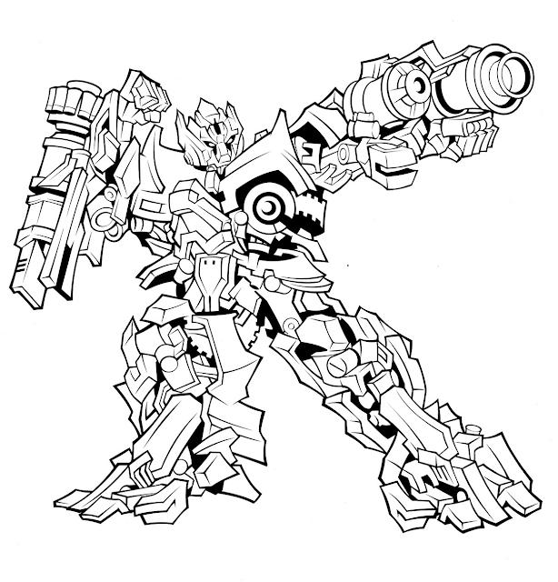 Sketsa Gambar Mewarnai Hitam Putih Robot Transformers Terbaru