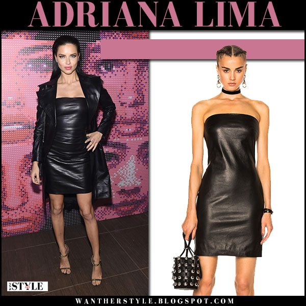 Adriana Lima in black leather mini dress at Maybelline party theperfext rita dress what she wore