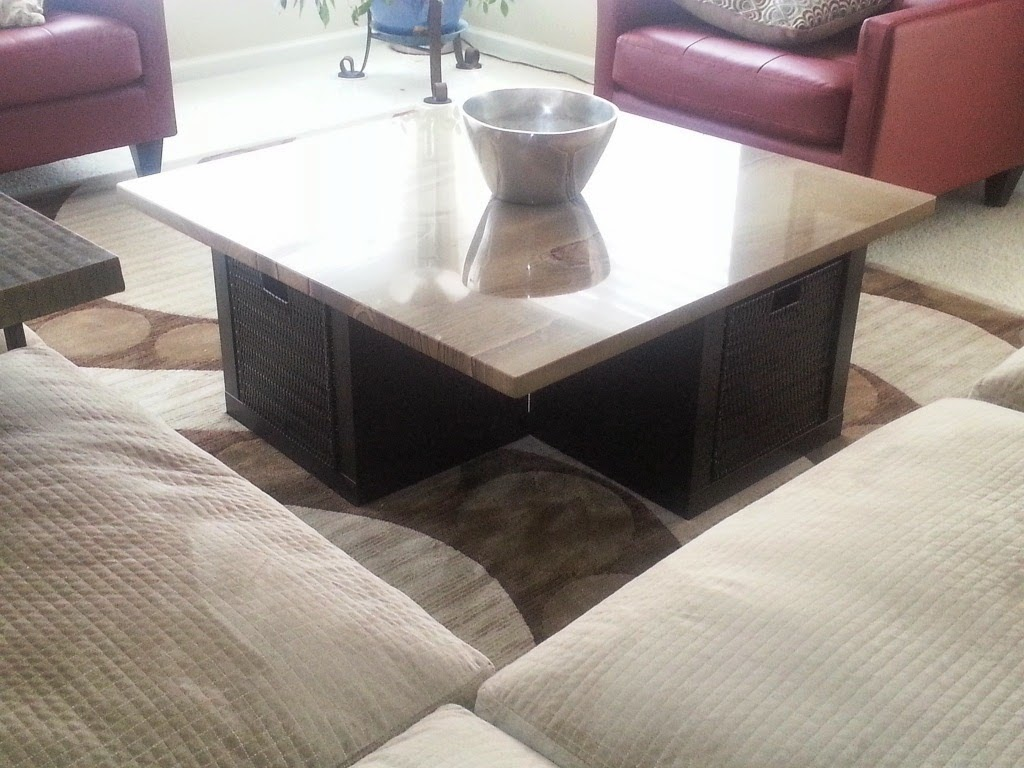 granite coffee table with expedit wall shelf and lack. Black Bedroom Furniture Sets. Home Design Ideas
