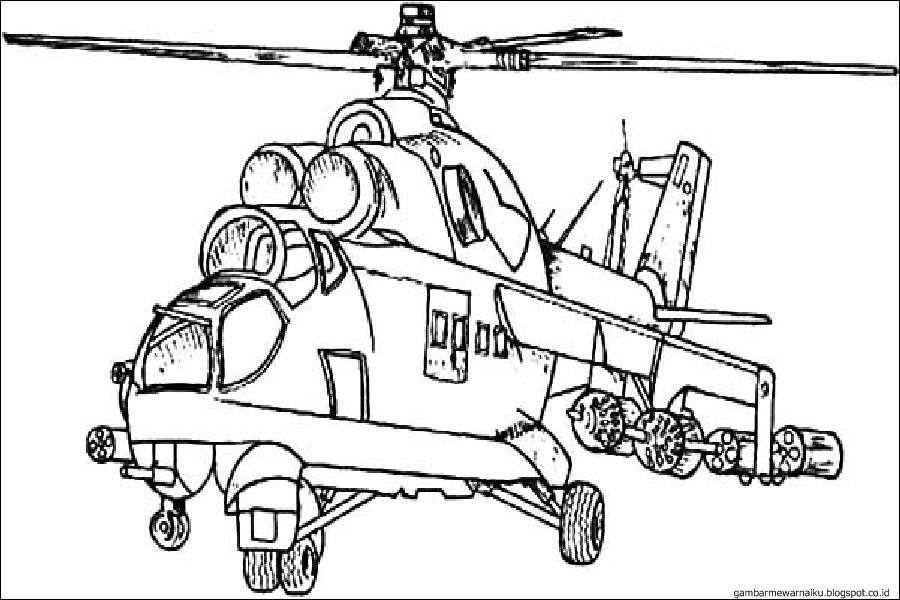 Gambar Mewarnai Helikopter Gambar Mewarnai