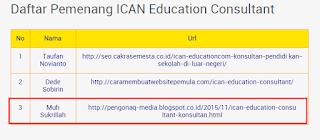 Juara 3 Ajang Kontes SEO ICAN Education - kontesseo.com