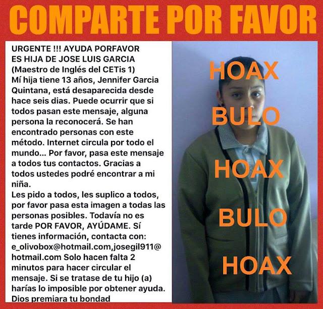 vuelve el bulo de la menor desaparecida Jennifer García Quintana