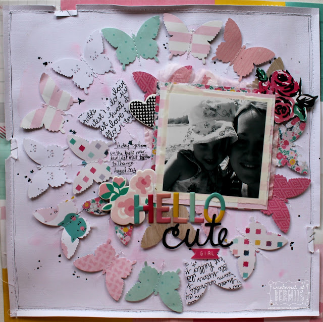 """Hello Cute"" layout by Bernii Miller using the Cute Girl collection by Crate Paper."