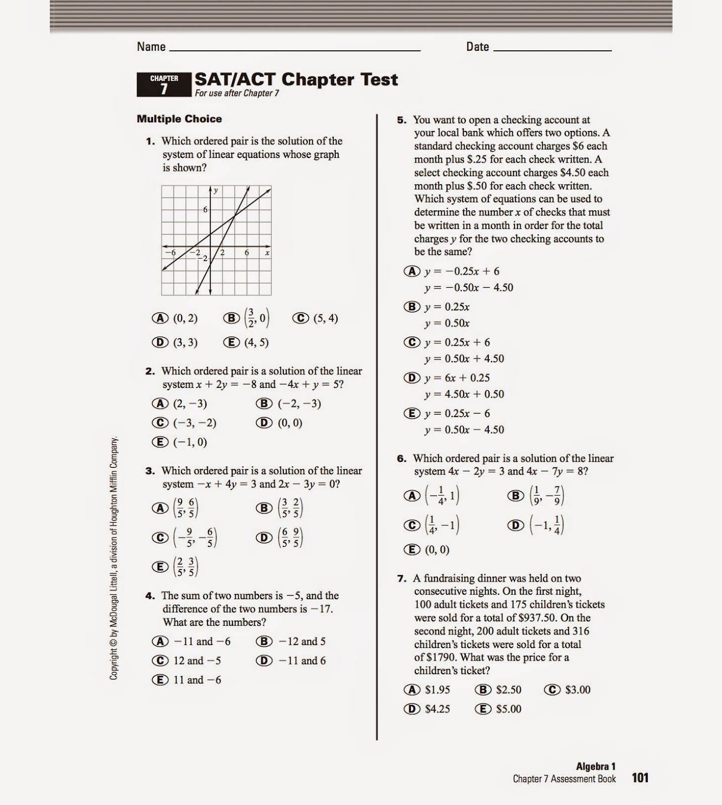 Linear Equations Test Grade 8