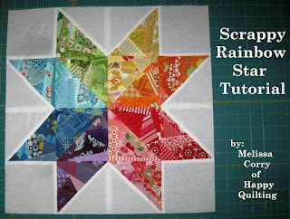 http://www.happyquiltingmelissa.com/2012/12/scrappy-rainbow-star-tutorial.html