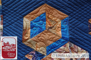 Modern Mini swap quilt cube with feather fronds