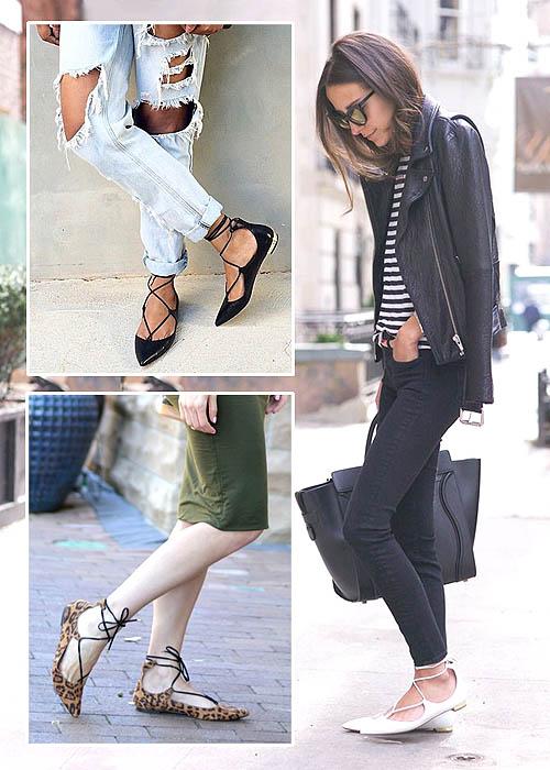 sepatu flat bertali lace up flats style 2016