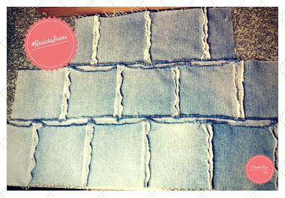 Transforme Calça Jeans em Cropped - Esquema dos quadrados após Costurado e Desfiado