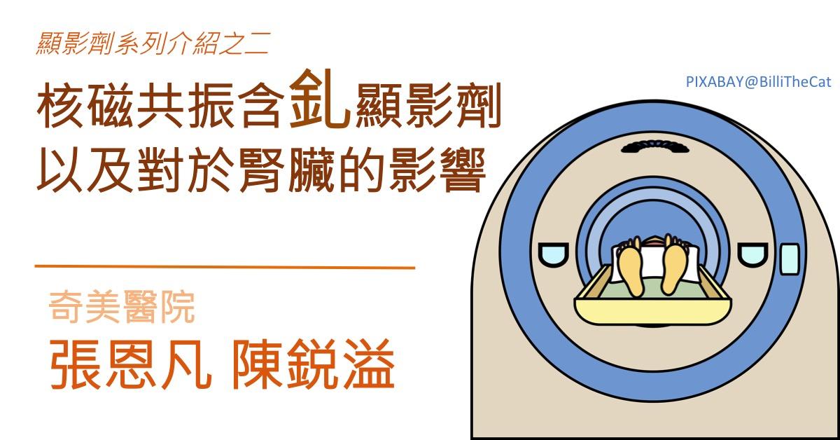 陳鋭溢: 顯影劑系列介紹之二:核磁共振含釓顯影劑以及對於腎臟的影響