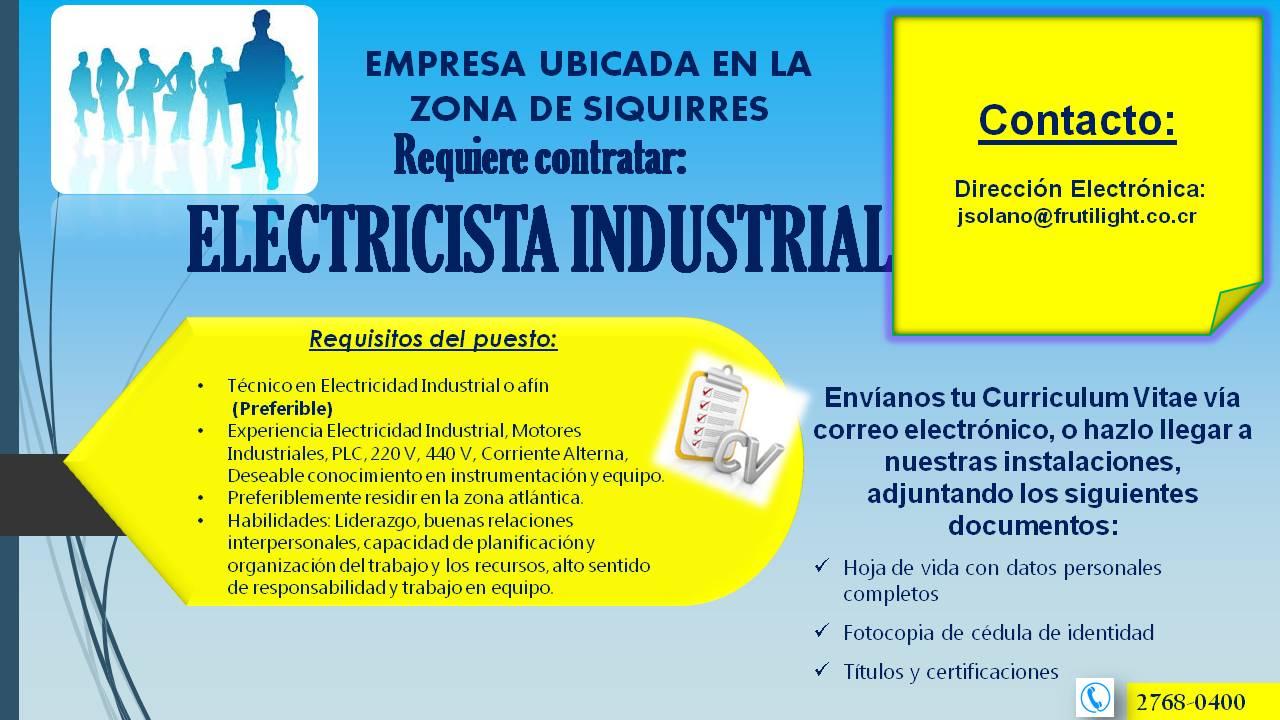 Bolsa de Empleo Pococí en Línea - Guápiles: Electricista Industrial