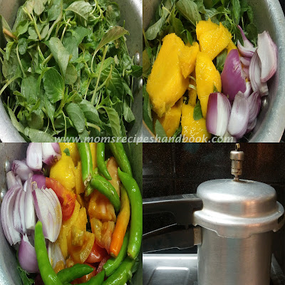 Amaranth Leaves / Thotakura Raw Mango Dal Recipe How to Cook