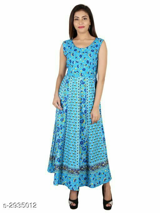 Fancy New Designer Cotton Jaipuri Printed Dress