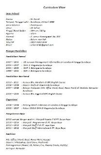 Info Contoh Cv Lamaran Kerja Curriculum Vitae Indonesia Inggris