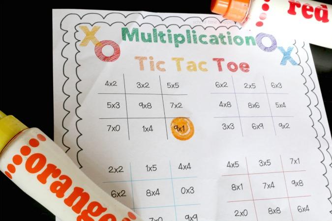 tic tac toe multiplication game printable