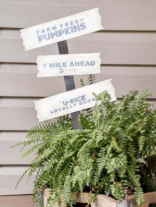 Farmhouse inspired farm fresh pumpkins yard sign