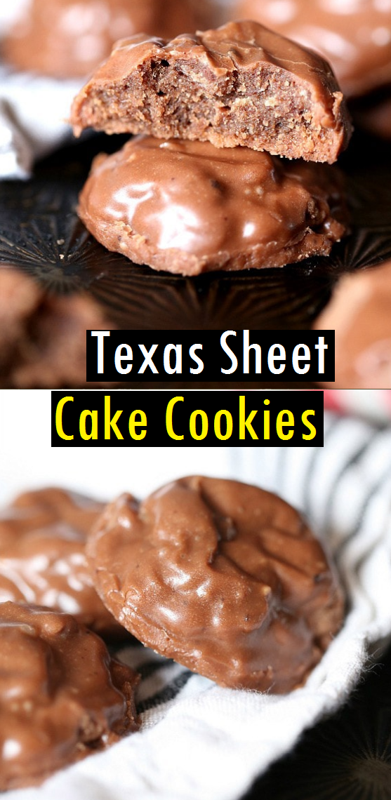 The Best Texas Sheet Cake Cookies! A fudgy chocolate cookie topped with the classic poured chocolate icing. #sheetcake #cake #texassheetcake #sheetcakecookies #cookiesrecipe #dessert #bestcookies #chocolatecookiesrecipe #chocolatecookies