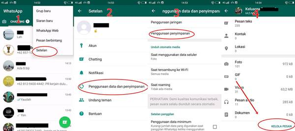 cara membersihkan chat whatsapp