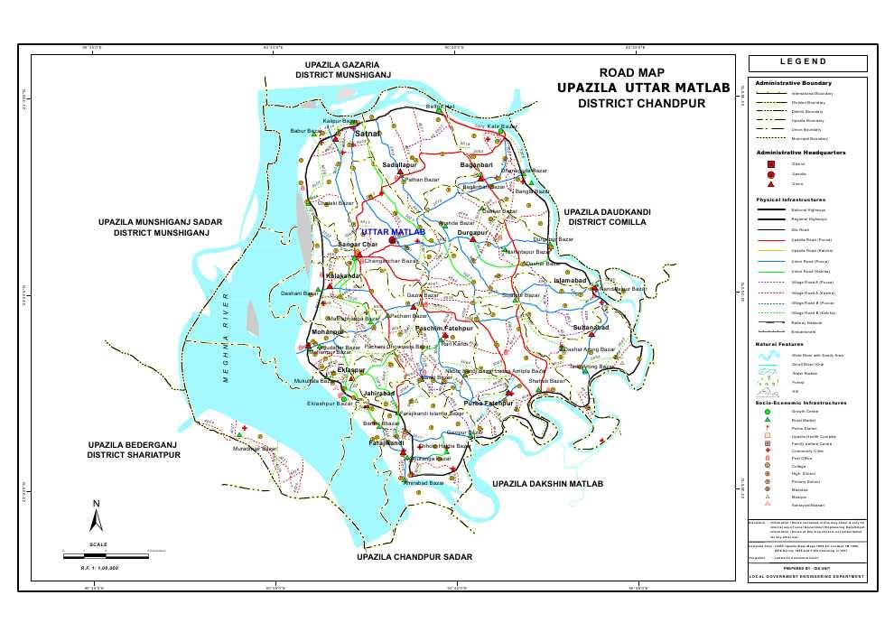 Matlab (Uttar) Upazila Road Map Chandpur District Bangladesh