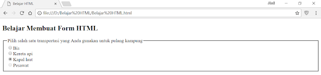 Atribut type checkbox dengan menambahkan atribut name, value, checked dan disabled