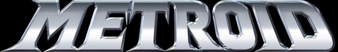 Logotipo Metroid con el texto en letras plateadas
