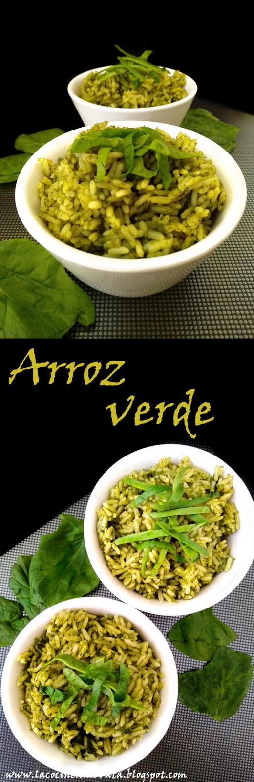 Arroz verde con espinacas y cilantro la cocinera novata cocina receta pobres economica aprovechamiento vegetariano vegano espinaca perejil