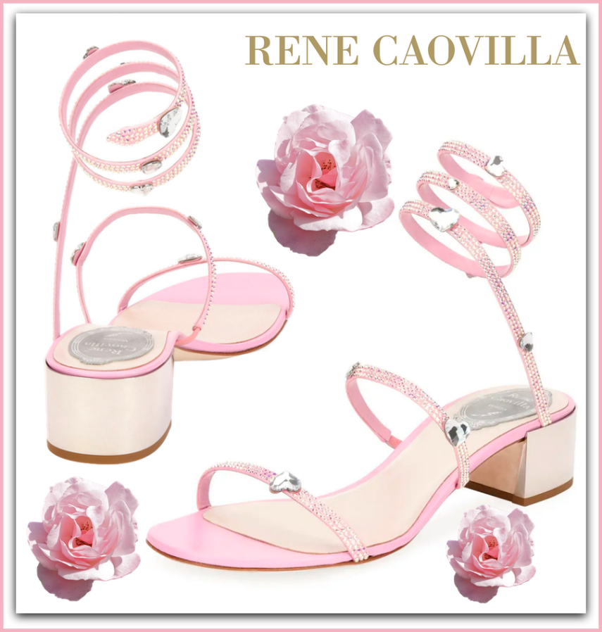 Rene Caovilla Snake-Wrap Satin Block-Heel Sandal with Hearts
