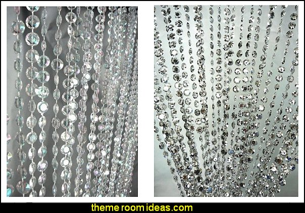 Faux Crystal Beaded Curtains  I Dream of Jeannie theme bedrooms - Moroccan style decorating - Jeannie bedroom harem style - Arabian Nights theme bedrooms - bed canopy - Moroccan stencils - I dream of Jeannie bottle - satin bedding - throw pillows - Moroccan furniture - Aladdin bedroom ideas - Arabian princess costume -  Harem Costumes
