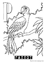 Animal Alphabet Parrot Coloring Pages