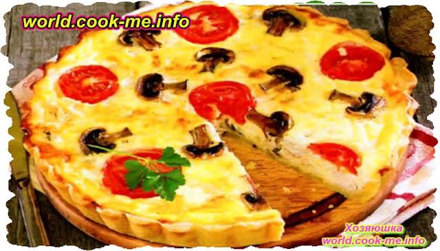 Пирог Киш с грибами, индейкой и помидорами