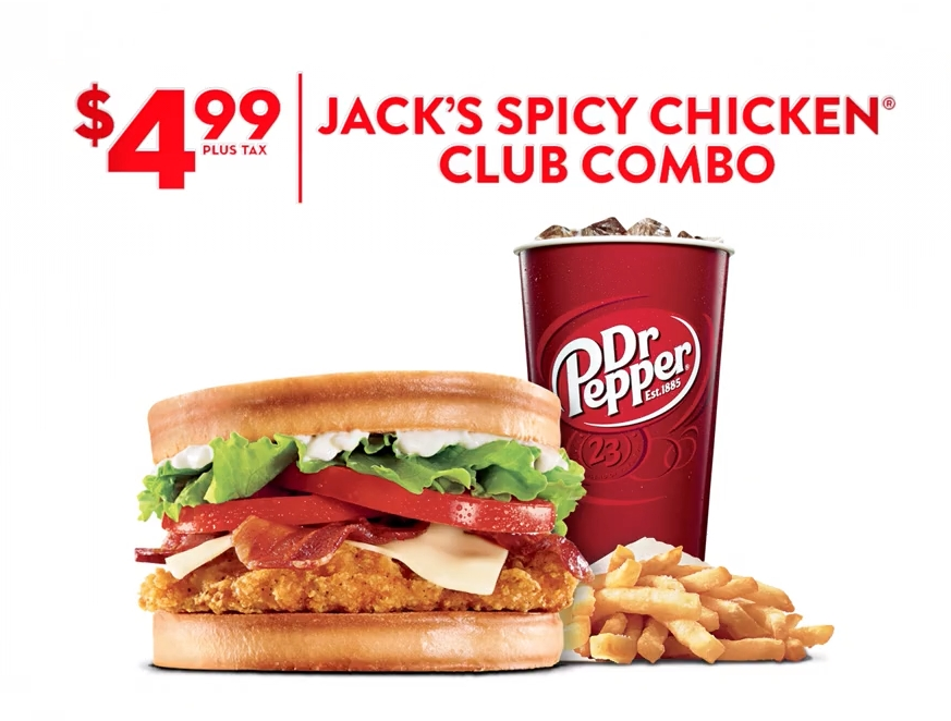 Jack In The Boxs Latest Deal Is New Spicy Chicken Club Combo For A Discounted 499 Includes Sandwich Small Order Of Fries