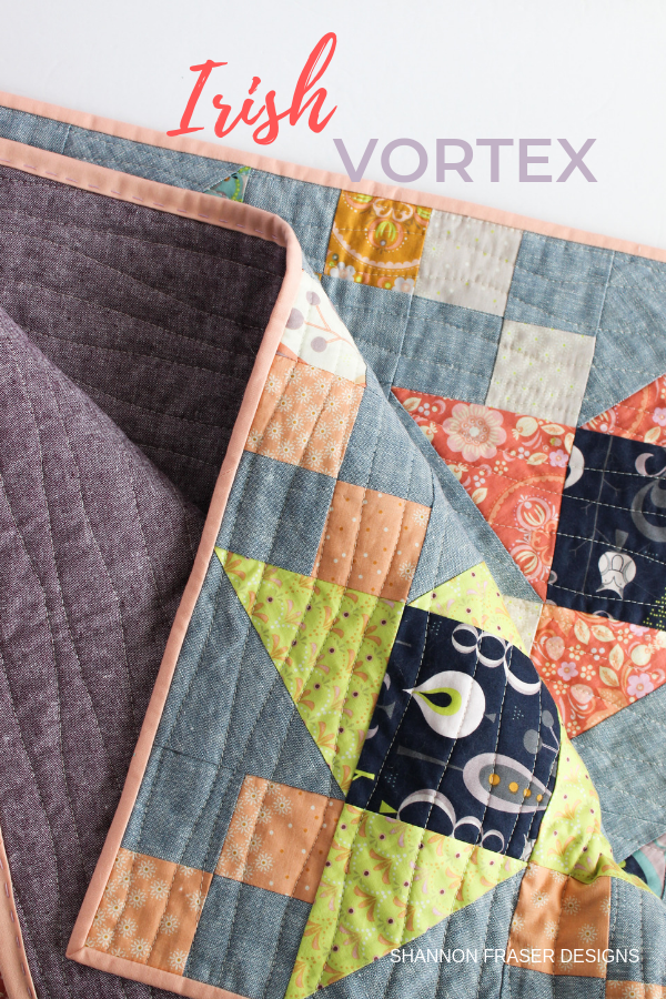 Essex linen backing and hand quilted binding detail | Fall Irish Vortex Quilt | Shannon Fraser Designs