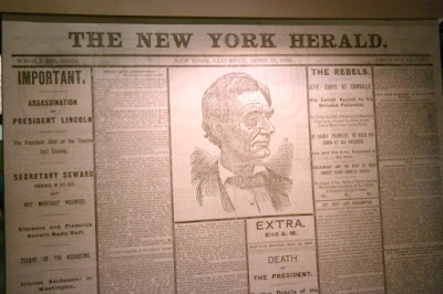 President Lincoln Assassination Newspaper Announcement