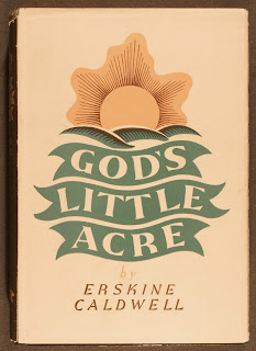 "A cover for ""God's Little Acre,"" featuring the title, author name, and a stylized sun over hills."