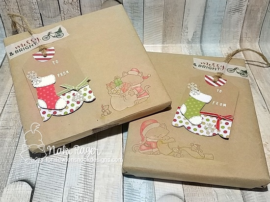 DIY Gift Wrapping by Naki Rager | Fancy Edges Tag Die Set, Stylish Stockings Die Set and Santa Paws Newton Stamp Set by Newton's Nook Designs #newtonsnook #handmade