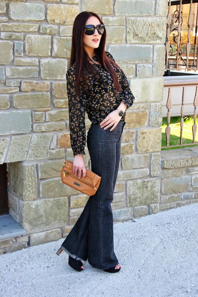 wide leg jeans vintage floral shirt 70s boho outfit