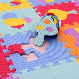 Vegetable Shape Floor Puzzle EVA Foam 30cm x 30cm 10pcs Playmats Safety Crawling