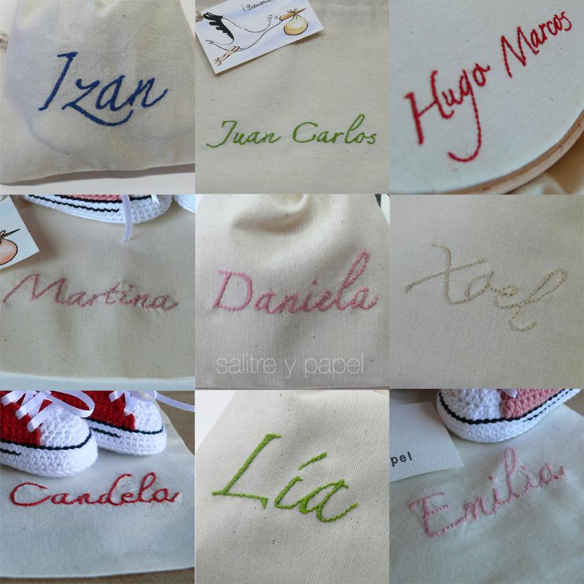 Bolsas bordadas con nombres